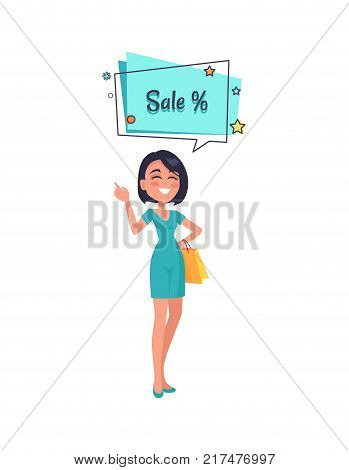 Woman thinking about sales, dressed in blue gown. Speech bubble with color stars vector illustration isolated on white. Poster with percent sign