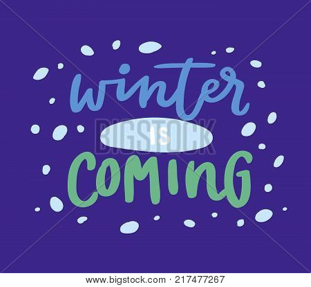 Winter Hello logo vector badge text letters motivation welcome wintertime phrases and quotes illustration lettering. Winter Hello phrase