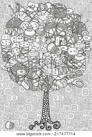Artistic tree with hand drawn Clothes buttons, needles, thread, pins, scissors. Hand drawn, doodle, tribal. Ink pen. Black and white background. Zentangle patters.