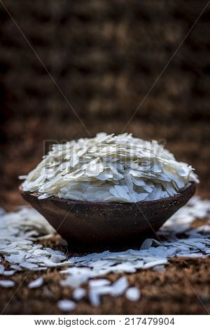 Oryza Sativa,puffed Rice In A Clay Bowl On A Gunny Background.