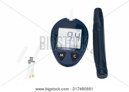The Blood Glucose Meter With Test Strips Isolated On White Background