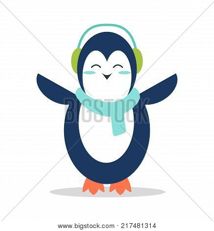Sweet penguin in soft earpieces and warm scarf stands with spread wings and closed eyes isolated cartoon vector illustration on white background.