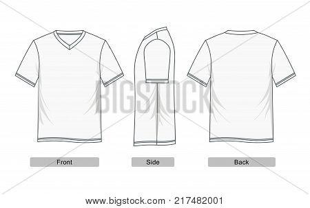 t-shirt v neck short sleeve Colorful Vector
