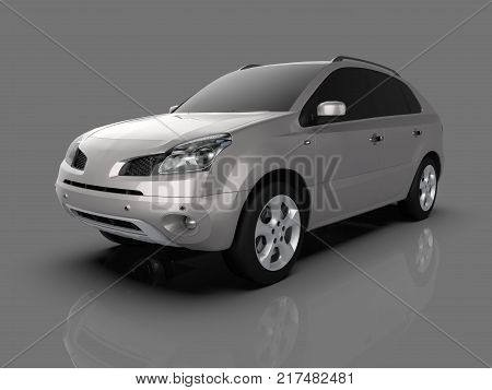 Compact city crossover metallic color on a gray glossy background with reflections. 3d rendering