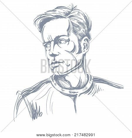 Grayscale portrait of good-looking severe man black and white vector drawing. Emotional expressions idea image.