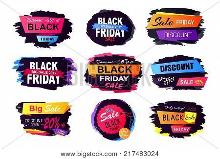 Discount -25 off black Friday, big sale only today, labels with dark background and headline place in centerpiece vector illustration