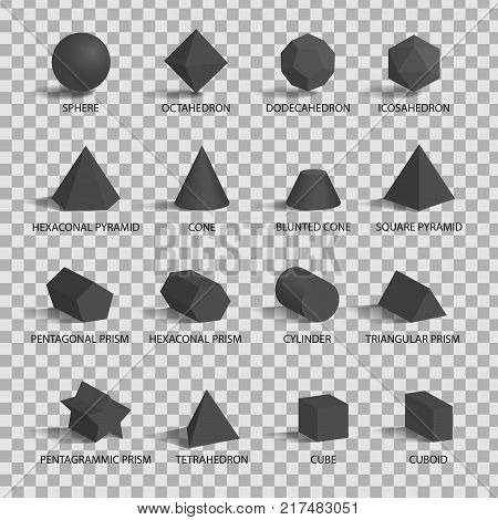 Set of 3D figures on transparent background. Vector illustration with sixteen different dark gray three-dimensional figures, including sphere, cube and others