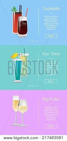 Fun time with cocktails at night bar poster with alcoholic beverages decorated with small umbrellas. Vector illustration room for web page elements