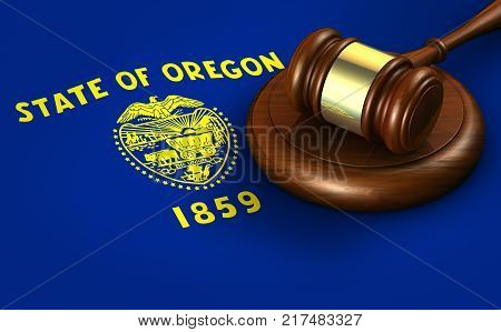 Oregon US state law legal system and justice concept with a 3D rendering of a gavel on Oregonian flag.