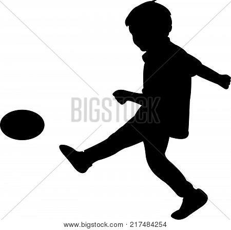 a boy kicking the ball, silhouette vector