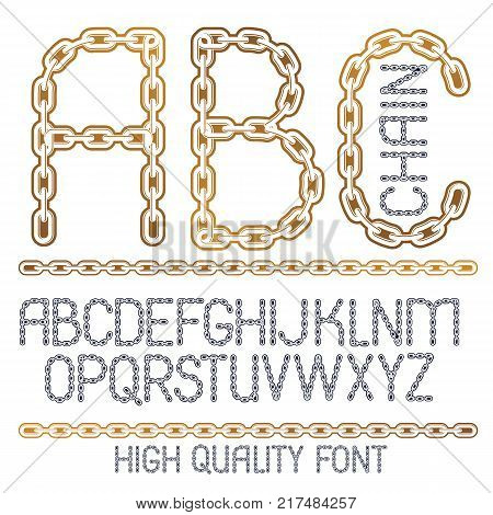 Vector script modern alphabet letters abc set. Capital decorative font created using chrome chain linkage.