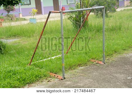 Football goal at school playground in thailand
