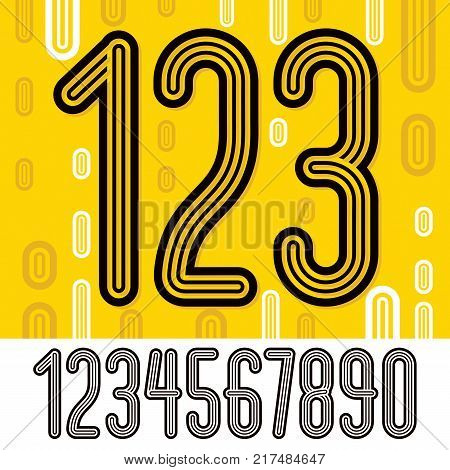 Set of stylish retro vector digits modern numerals collection. Trendy thin narrow numerals from 0 to 9 can be used in poster creation. Made with geometric parallel triple lines.