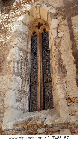 Corvin Romania - July 22 2017: Vitrage window from Corvin's Castle Romania