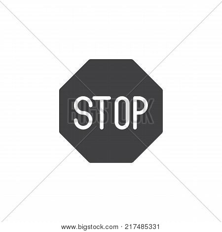 Road sign stop icon vector, filled flat sign, solid pictogram isolated on white. Stop symbol, logo illustration.