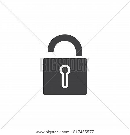 Unlocked padlock icon vector, filled flat sign, solid pictogram isolated on white. Unlock safe secure padlock symbol, logo illustration.