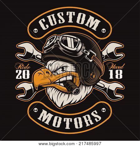 American eagle with cigar. Vector illustration of motorcycle rider with helmet. Shirt graphics (COLOR VERSION) All elements colors text (curved) are on the separate layer and easy editable.