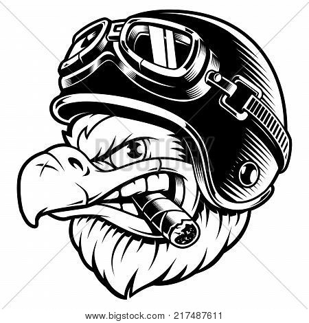 American eagle with cigar. Vector illustration of motorcycle rider with biker helmet. Shirt graphics.Isolated on white background.