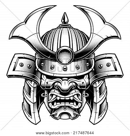 Samurai warrior mask. Traditional armor of japanese warrior. Vector illustration shirt graphic. Isolated on white background. (MONOCHROME VERSION).