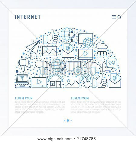 Internet concept in half circle with thin line icons: e-mail, chat, laptop, share, cloud computing, seo, download, upload, stream, global connection. Modern vector illustration for web page.
