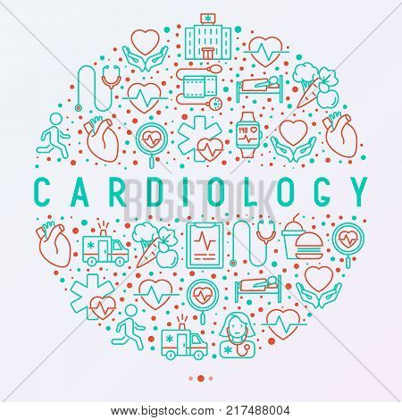 Cardiology concept in circle with thin line icons set: cardiologist, stethoscope, hospital, pulsometer, cardiogram, heartbeat. Modern vector illustration for banner, web page, print media.