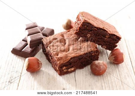 chocolate brownie with hazelnut