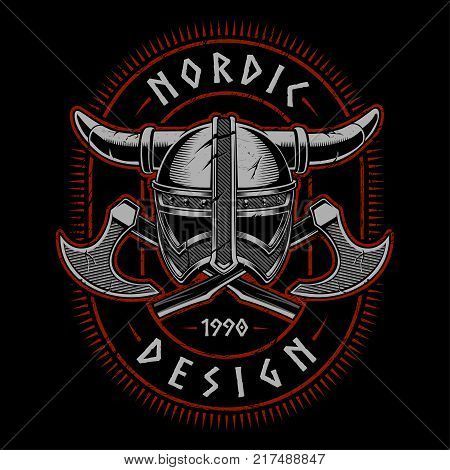 Viking helmet with axes. Vector illustration on dark background. All elements are separate text is on the separate layer.