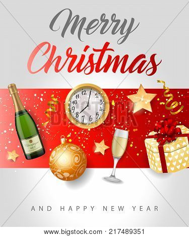 Merry Christmas and happy New Year lettering with baubles, bottle of champagne and present box. Calligraphic inscription can be used for greeting cards, festive design, posters, banners.