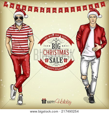 Vector man models with Santa hats in casual style, christmas sale tagline