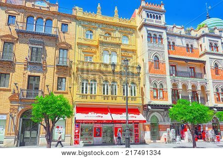 Downtown Of The City Seville, Autonomous Community Of Andalusia, Province Of Seville, Spain.