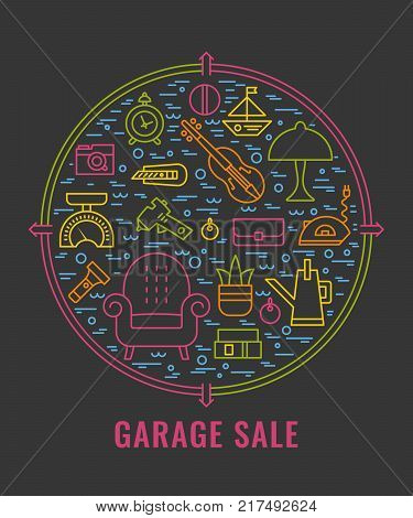 Yard sale sign. Template for poster banner. Garage sale flyer template. Vector line style illustration.