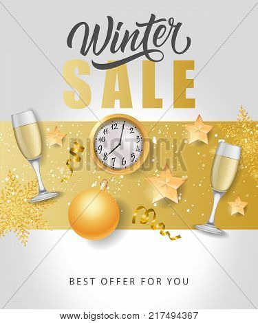 Winter sale, best offer lettering with baubles, watch and flutes of champagne. Inscription can be used for leaflets, festive design, posters, banners.