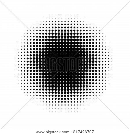 Halftone effect on white background. Halftone dots pattern. Radial gradient. Vector illustration
