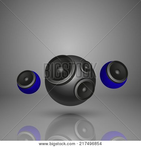 Abstract music background with one big round speaker and two blue small round speaker. EPS10 vector.