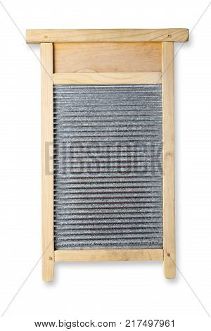 Vintage washboard isolated on white background with clipping path