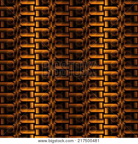 Seamless geometric background. Abstract zipper pattern in yellow, orange, gold and brown shades, vertically and dimensional.