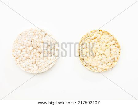 Round Rice Cakes/ Crackers, On White Background.