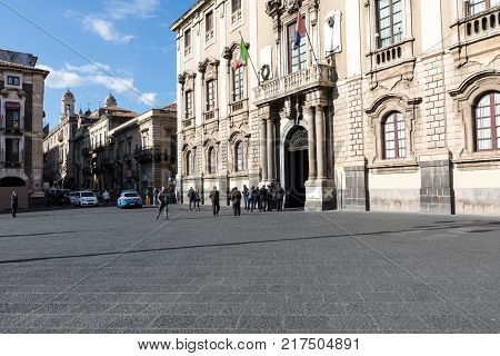Catania, Sicily - November 28, 2017: Local Peaople On The City Center Of Catania, Located In Sicily