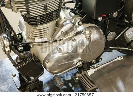 Detail of a classic motorcycle engine motorcycle motorcycle engine close-up detail background