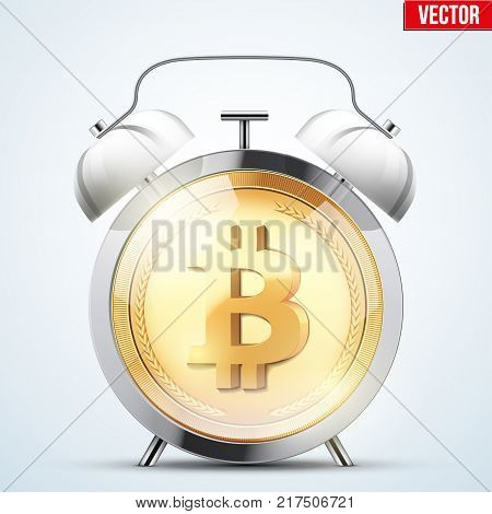 Bitcoin exchange trading alarm clock. Time to market trading. Profit and loss. Editable Vector Illustration