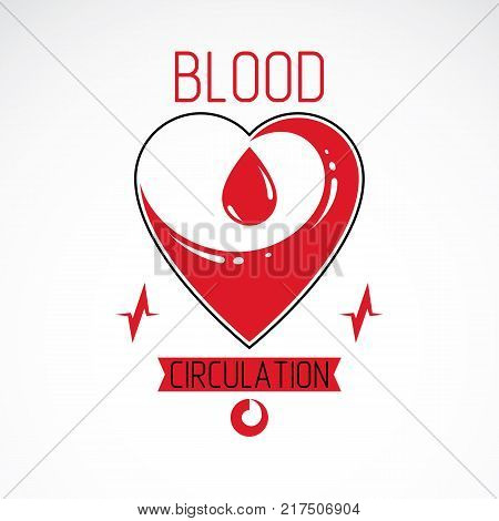 Vector illustration of heart shape and drops of blood. Blood circulation conceptual logo created with heart and an ecg chart. Cardio rehabilitation center vector logo.