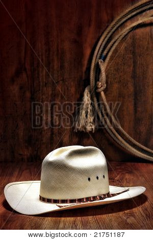 American West Rodeo Cowboy Hat And Lasso