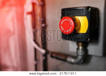 The Red Emergency Button Or Stop Button For Hand Press. Stop Button For Industrial Machine, Emergenc