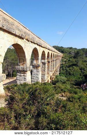 Ancient Roman aqueduct, Pont del Diable, in Tarragona (was Roman Tarraca)