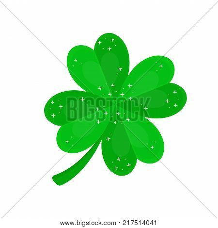 Four-leaf clover for luck.Vector flat cartoon illustration icon design. Isolated on white backgroung. Luck concept