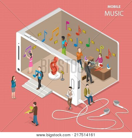 Mobile cloud music service isometric vector. People are going by and inside a musical store with facade looking like a smartphone. There are many musical notes in the store which sybolize music tracks