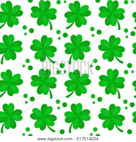 Four-leaf clover for luck seamless pattern.Vector flat cartoon illustration icon design. Isolated on white backgroung. Luck concept