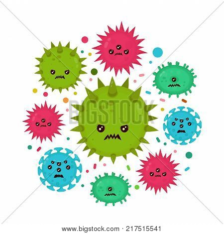 Cute angry evil bad fly germ virus infection,micro bacteria.Vector modern flat style cartoon character illustration.Isolated on white background.Microbe, Pathogen, Virus icon.