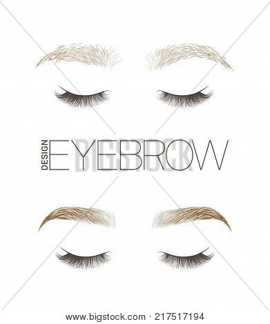 Makeup eyebrows. Set of well-groomed and shaggy eyebrows. Before and after the care. Closed eyes with long eyelashes. Vector illustration