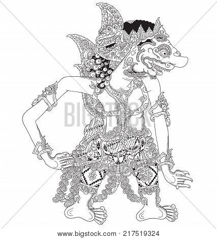 Kalayaksa, a character of traditional puppet show, wayang kulit from java indonesia.